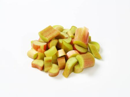 rhubarb: fresh rhubarb stalks cut into small pieces Stock Photo