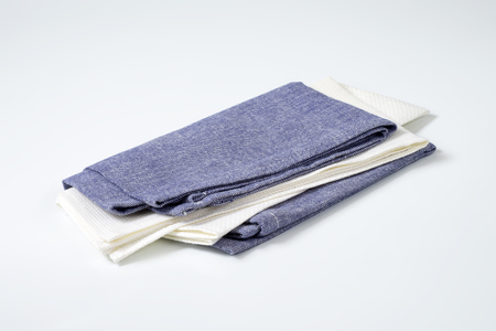 napkins: two folded cloth napkins or place mats Stock Photo