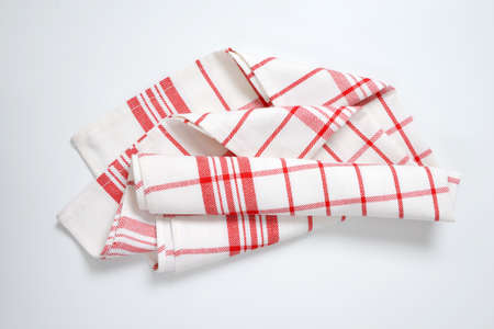 red and white checked tea towel Stock Photo
