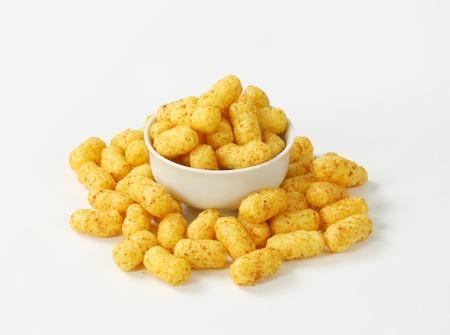 bowl of crunchy peanut puffs
