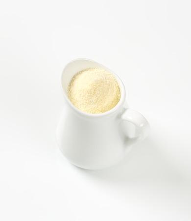 durum wheat semolina: Semolina flour in a white jug