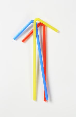 bendable: Three plastic bendy drinking straws