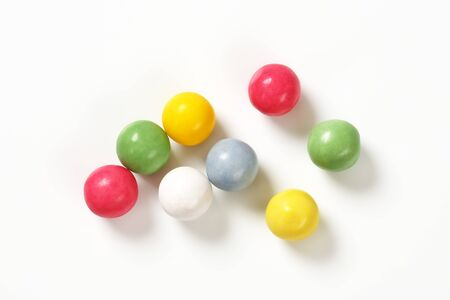 chocolate balls: candy coated chocolate balls or bubble gum balls