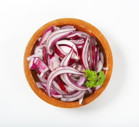 red onion: bowl of chopped red onion