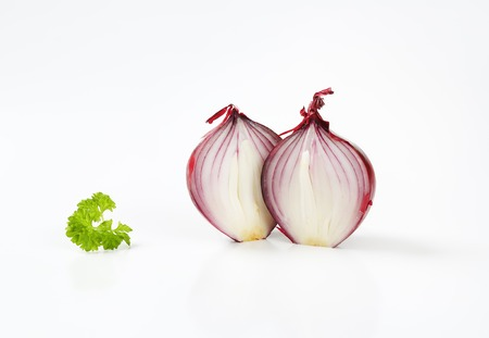 halved  half: two halves of red onion Stock Photo