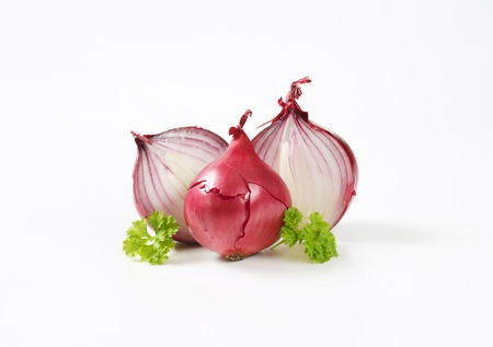 halved: whole and halved red onions