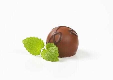 praline: belgian chocolate praline on white background