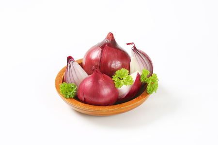 quartered: whole and quartered red onions