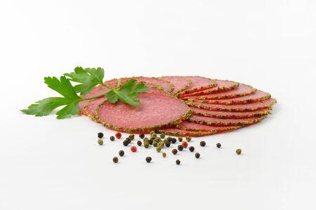pepper salami: thin sliced salami with green pepper crust
