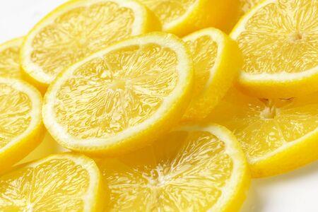 lemon slices: heap of fresh lemon slices
