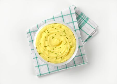 bowl of mashed potatoes with chives