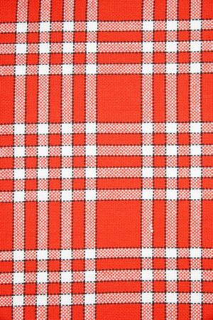 table linen: detail of red and white table linen