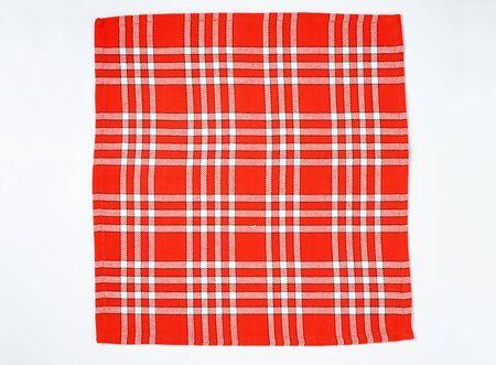 white napkin: square checked red and white napkin