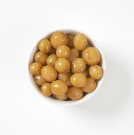 pickled: bowl of pickled green gooseberries