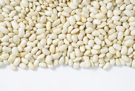 white beans: raw white beans on white background