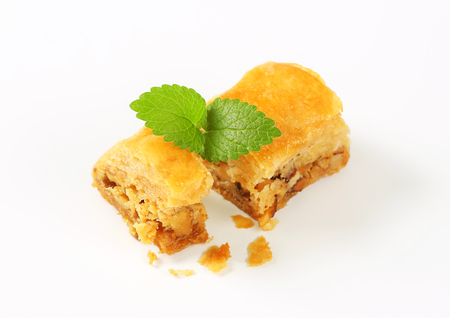 filled: Nut filled layered pastry (Baklava) Stock Photo