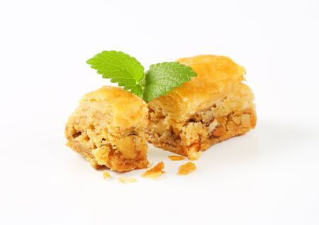 drenched: Baklava - phyllo pastry filled with nuts and spices and drenched in syrup Stock Photo