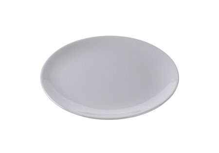 rimless: Round flat gray dinner plate without rim Stock Photo