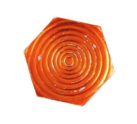 rimless: Hexagon plate with orange metallic glaze
