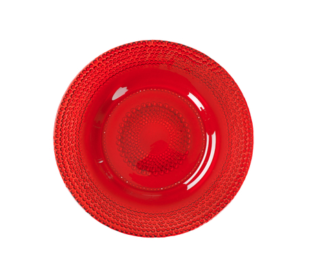 ruby: Ruby red glass bubble plate