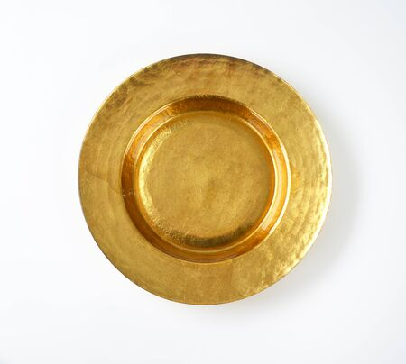 dessert plate: Empty gold plate with wide rim Stock Photo
