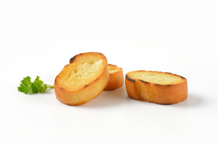 pan fried: pan fried slices of French bread roll