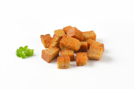handful of pan fried bread cubes (croutons) Banco de Imagens
