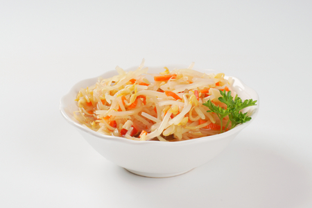 mung bean sprout: bowl of bean sprout and carrot salad