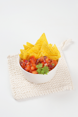 tortilla: bowl of salsa fresca and tortilla chips
