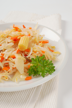 salad of bean sprouts, carrot, bamboo shoots and baby corn Stock Photo