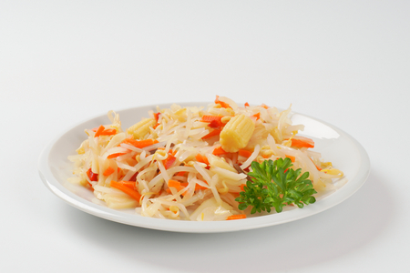 mung bean sprout: salad of bean sprouts, carrot, bamboo shoots and baby corn Stock Photo