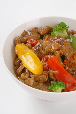 stir fry: bowl of meat and vegetable stir fry