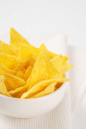 bowl of triangle shaped tortilla chips Stock Photo