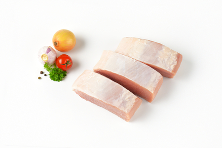 pork  loin: Slices of fresh boneless pork loin