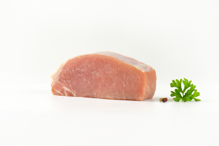 loin: Piece of fresh pork loin on white background