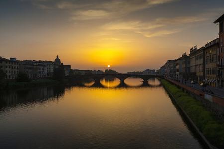 arno: Arno River and Ponte Vecchio, Florence, Italy Stock Photo