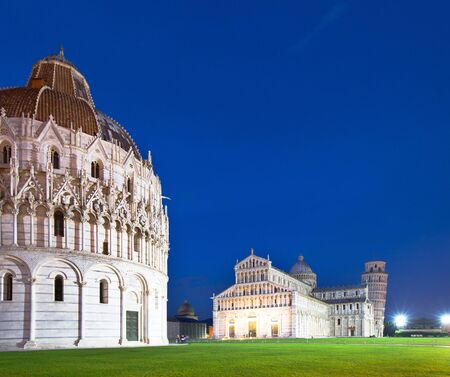 The Pisa Baptistry of St. John, the Duomo and the Leaning Tower of Pisa at dusk, Campo dei Miracoli, Pisa, Italy, Europe Stock Photo