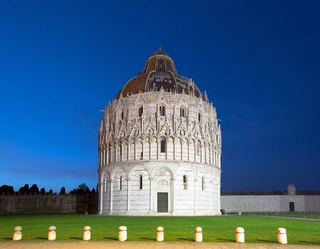 miracoli: The Pisa Baptistry of St. John at night, Campo dei Miracoli, Pisa, Italy, Europe