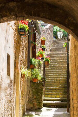 volterra: Narrow street in ancient town of Volterra, Tuscany, Italy