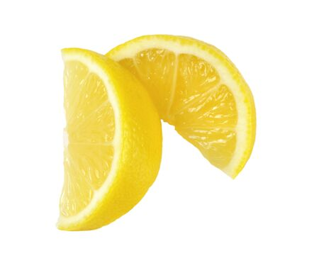 흰색 배경에 신선한 레몬 슬라이스 스톡 콘텐츠