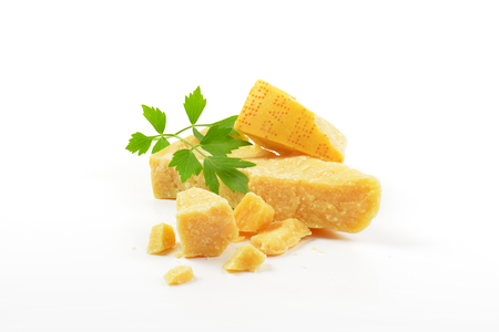 Pieces of true Parmesan cheese Stock Photo