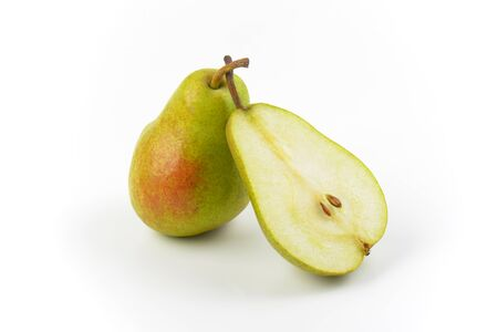 luscious: one and half ripe pears on white background