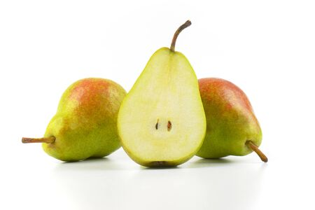 luscious: two and half ripe pears on white background