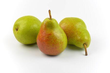 luscious: three ripe pears on white background Stock Photo