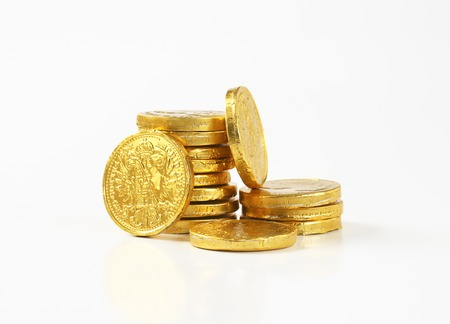 Gold foil covered chocolate coins