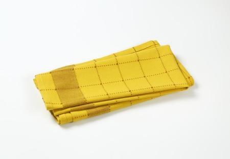 tela algodon: yellow and brown checkered dish towel