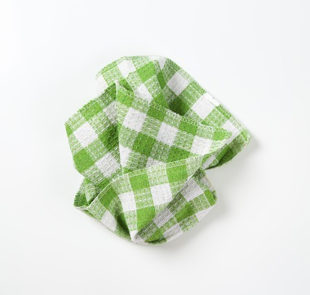 green and white checkered dish towel Stock Photo
