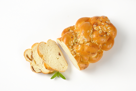 Czech Christmas sweet yeast bread with almonds and raisins Stock Photo