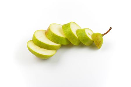 sliced ripe pear on white background Imagens