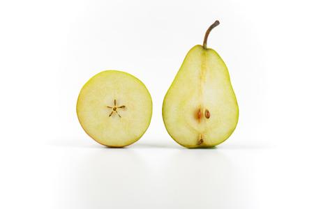 luscious: two halves of ripe pear on white background Stock Photo